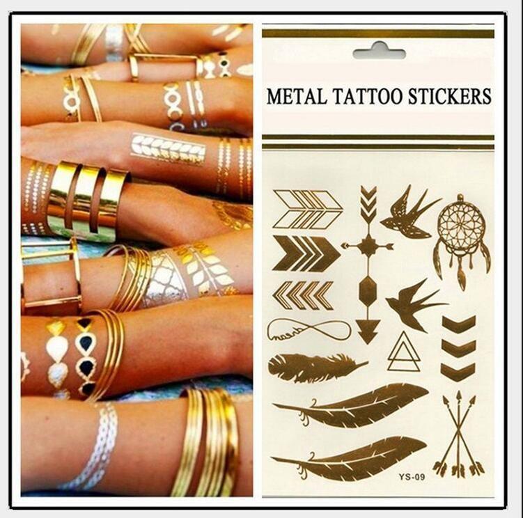 500 Arten Body Art Kette Gold Tattoo temporäre Tattoo Tatoo Flash Tattoo Tätowierung metallischen Tattoo Schmuck Transfer Tattoos temporäre Aufkleber