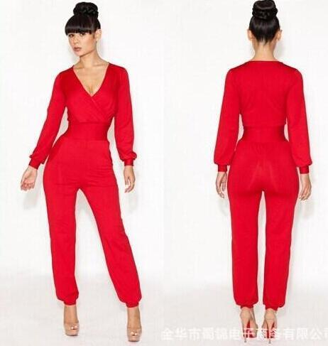 2019 New Fashion Jumpsuit Bluered Deep V Long Sleeve Jumpsuit Women