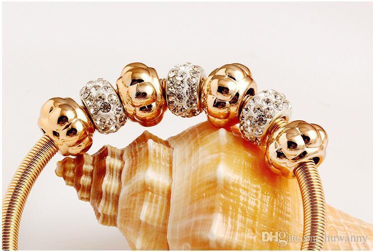 Top Grade oro Bracciali caldo di modo di vendita della CZ del Rhinestone del diamante polsino di cristallo braccialetto elastico dei braccialetti le donne Ragazze Gioielli 0368W all'ingrosso