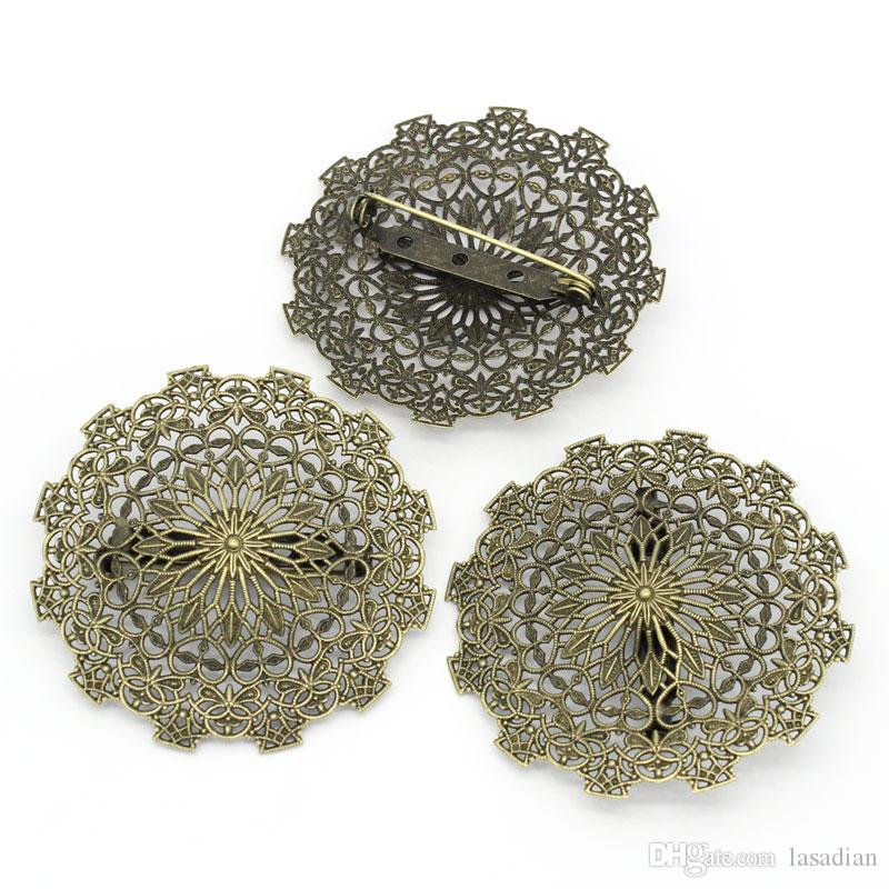 Bronze Tone Round Cabochon Setting Brooches Hollow Flower
