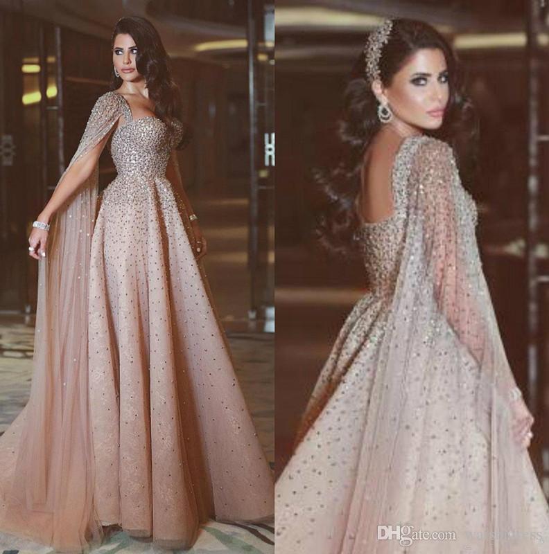 Yeni Şampanya Rhinestone Gelinlik Modelleri Kristal Boncuklu Örgün Abiye Pelerin Kat Uzunluk Custom Made Abiye giyim Ile