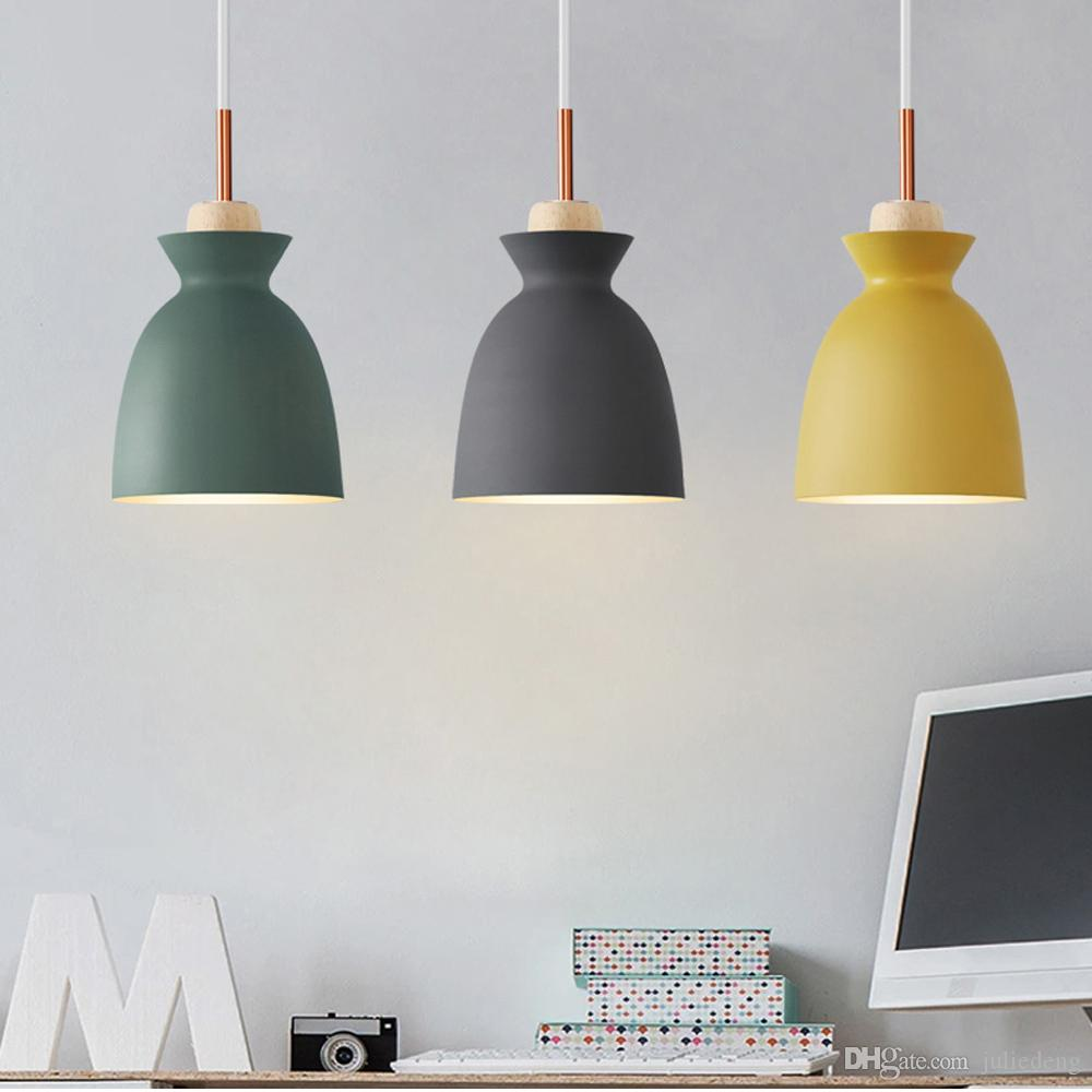 Modern Wood Pendant Lights L&aras Colorful Iron L& Shade Luminaire Dining Room Lights Pendant L& For Home Lighting Yellow Pendant Light Nautical ... & Modern Wood Pendant Lights Lamparas Colorful Iron Lamp Shade ...