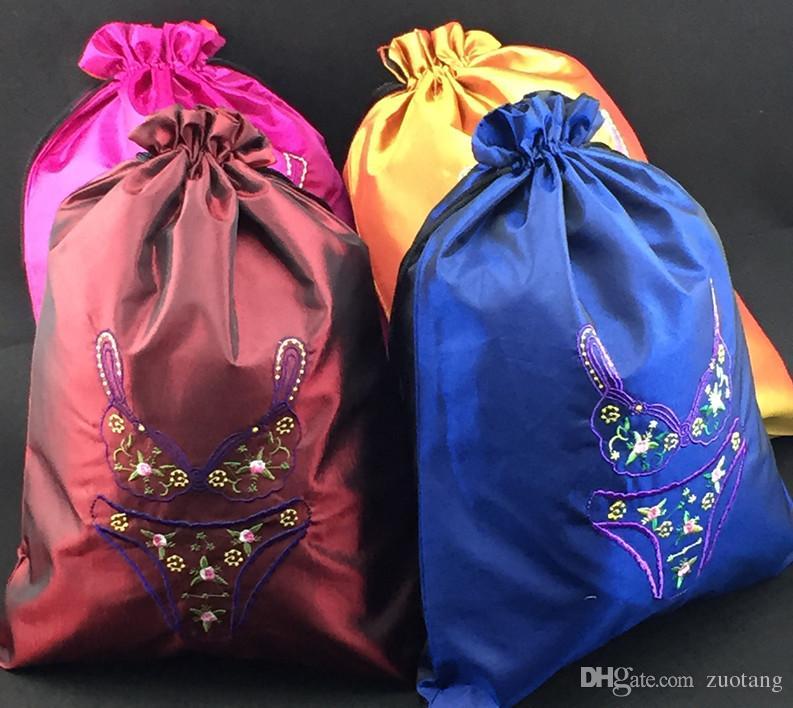 Fine broderad Travel Bra Underkläder Bag Förvaringsväska Högkvalitativa Silk Cloth Drawstring Väskor Förpackning Påse Partihandel 50st /