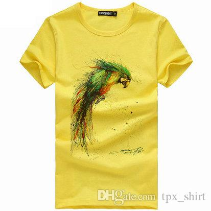 Wash Painting Parrot T Shirt Excitement Short Sleeve Gown Color Bird Tees  Leisure Unisex Clothing Quality Cotton Tshirt T Shirt Over Shirt Best T  Shirt Site ... c28121e9e