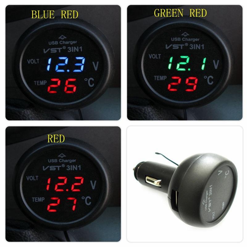 Guaranteed 100% 3in1 Digital Voltmeter USB output 5V 2.1A Thermometer 12/24V Cigarette Lighter USB Car Charger