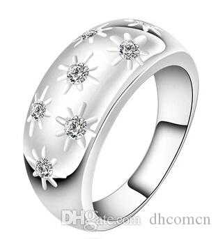 925 스털링 실버 여성 반지 다이아몬드 크리스탈 웨딩 꽃 반지 아름다운 귀여운 예쁜 레이디 쥬얼리 도매