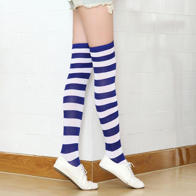Gestreifte Kniestrümpfe für große Mädchen Erwachsene im japanischen Stil Zebra Oberschenkel hohe Socken Frühlingsstrümpfe 21 Farben für Weihnachten Halloween C2667