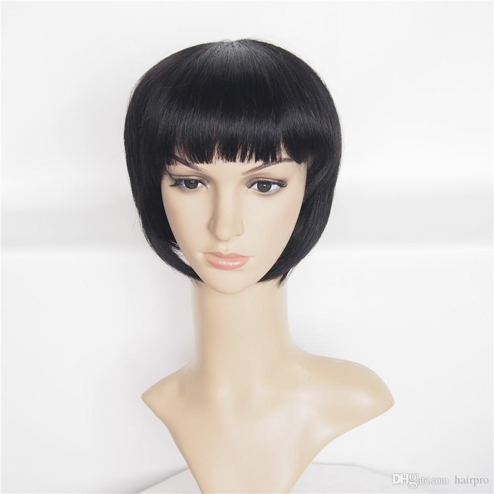 Cheap Price Human Hair Wig Machine Made Non Lace Cute Short Wig 10 inch Short Straight Bob Wig With Bang