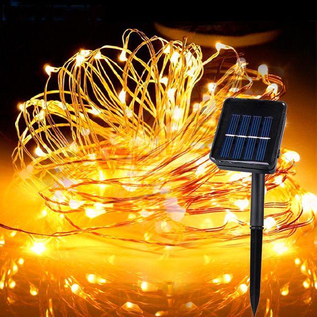 Solar Powered Led Copper String Light 5m 10m 5m 20m Fairy