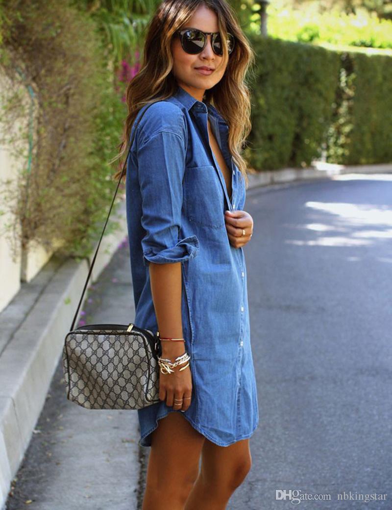 New Women Vintage Casual Loose Shirt Dress Stand Collar Blue Jeans Denim Shirt Dress Ladies Belt Mini Dress