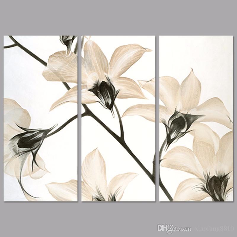 3 Шт. / Компл. Современные Белые Цветы Магнолии Украшения Орхидеи Wall Art Pictures Холст Картины Для Гостиной Home Decor Без Рамы
