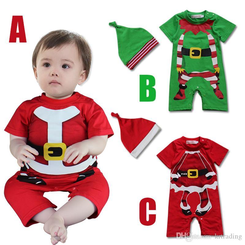 9449f4a3aaf5 2019 Baby Christmas Romper Suit Infants Xmas Clothes Sets Hat+Short ...