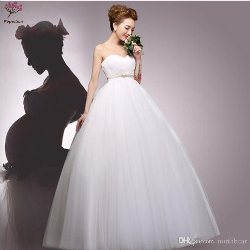 Popodion Simple Pregnant Woman Wedding Dresses Strapless Plus Size