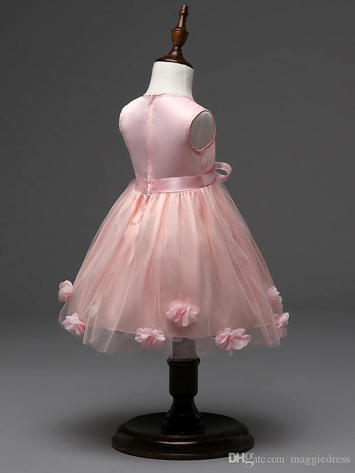 Latest design flower girls wedding dress 3D rose baby girl tutu skirts kids girl's party yarn tulle organza dresses children ball gown