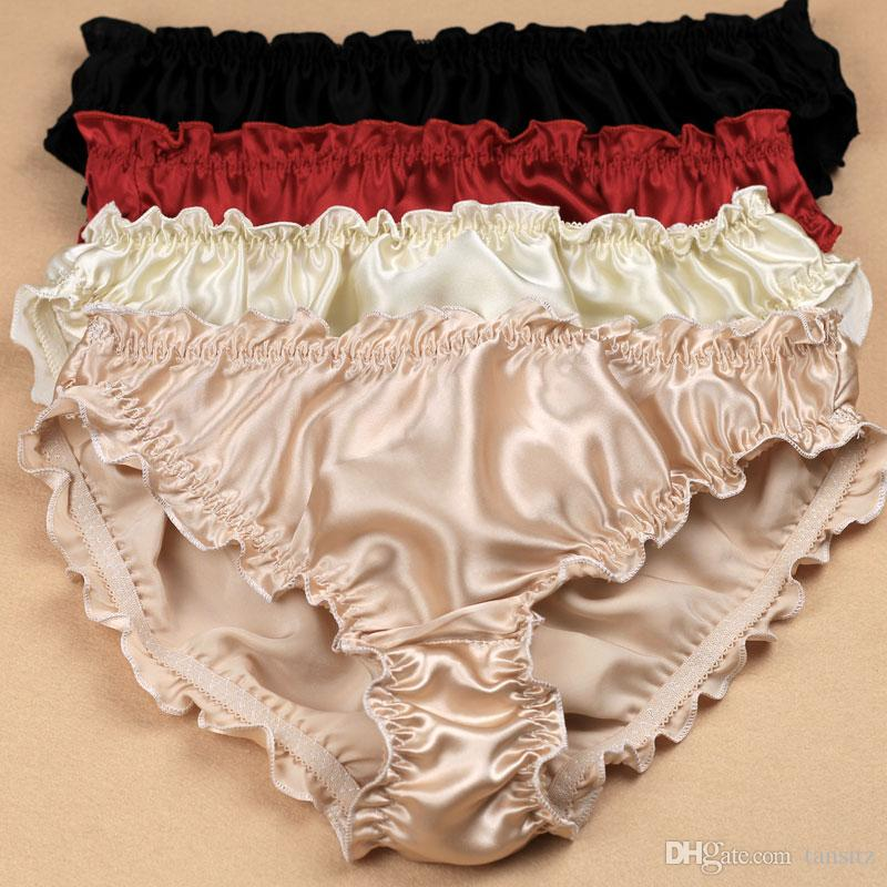 533976dfd 2pcs lot Quality women s silk panties ruffle crepe satin antibiotic  low-waist trigonometric panties plus size Popular hot style