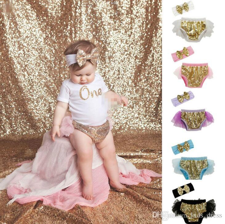kids sequins shorts Toddler bow headband sequin Underpants 2pcs set infant lace pp pant Ruffle Bloomer Diaper Nappy Cover Panties KKA2655