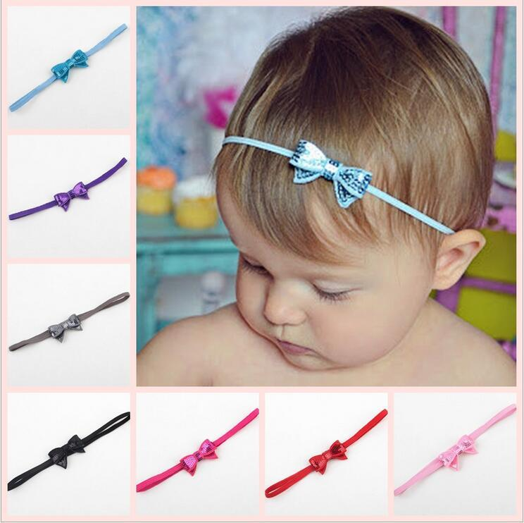 Baby Infants Shiny Paillette Bow Headbands Children Kids Elastic Small  Bowknot Hairbands Hair Accessories Princess Headdress KHA308 Handmade Hair  ... b951126b648