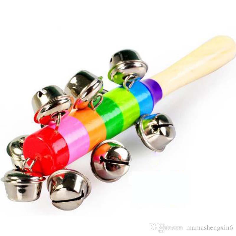 Деревянные красочные погремушки деревянные Радуга погремушки рукоятка детские детские развивающие игрушки раннего образования вокальные колокола игрушки подарки