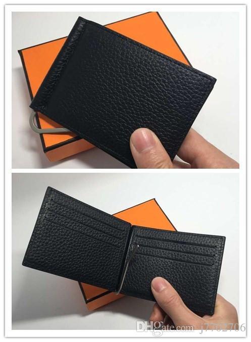 Portafoglio carte di credito Portafoglio uomo Portafogli in vera pelle di alta qualità con porta carte fermasoldi Borsa piccola da uomo 2017 Vallet