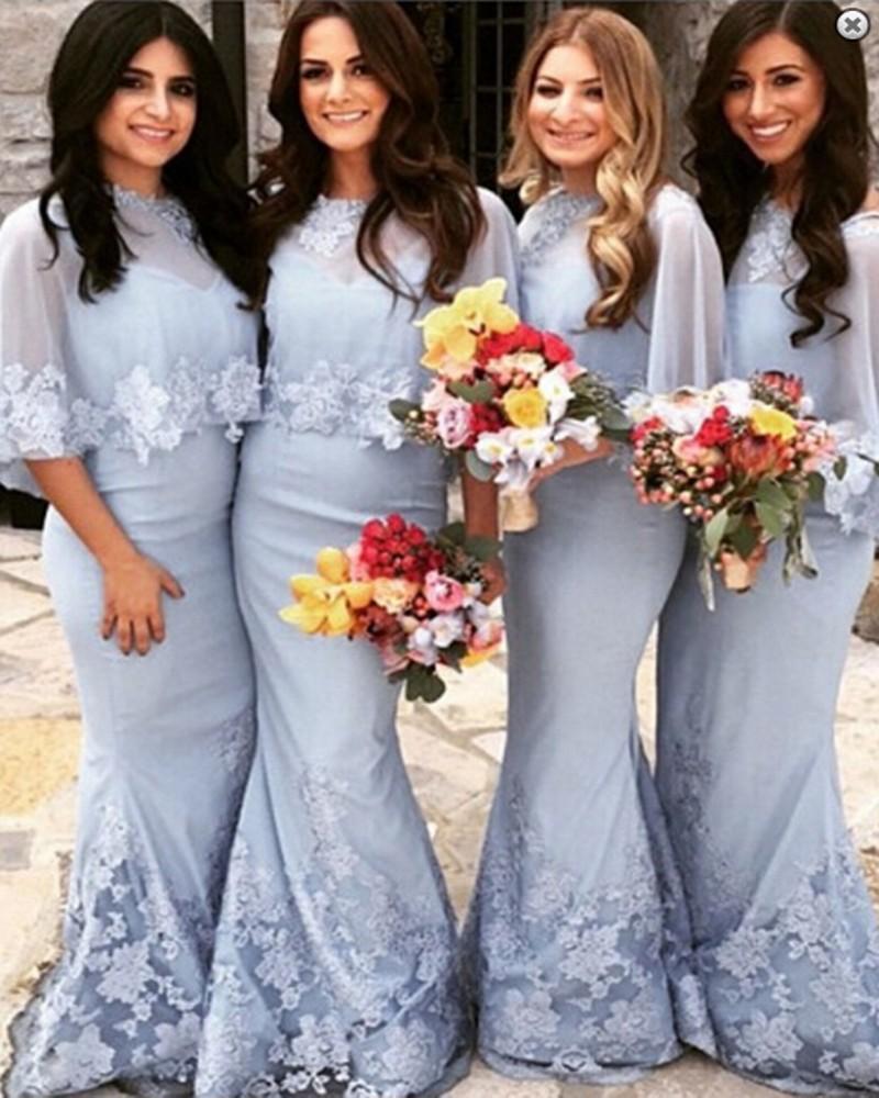 Vintage Mantel Afrikanische benutzerdefinierte Chiffon und Spitze Brautjungfernkleider lange in hellblau 2021 Hochzeits-Party-Kleider