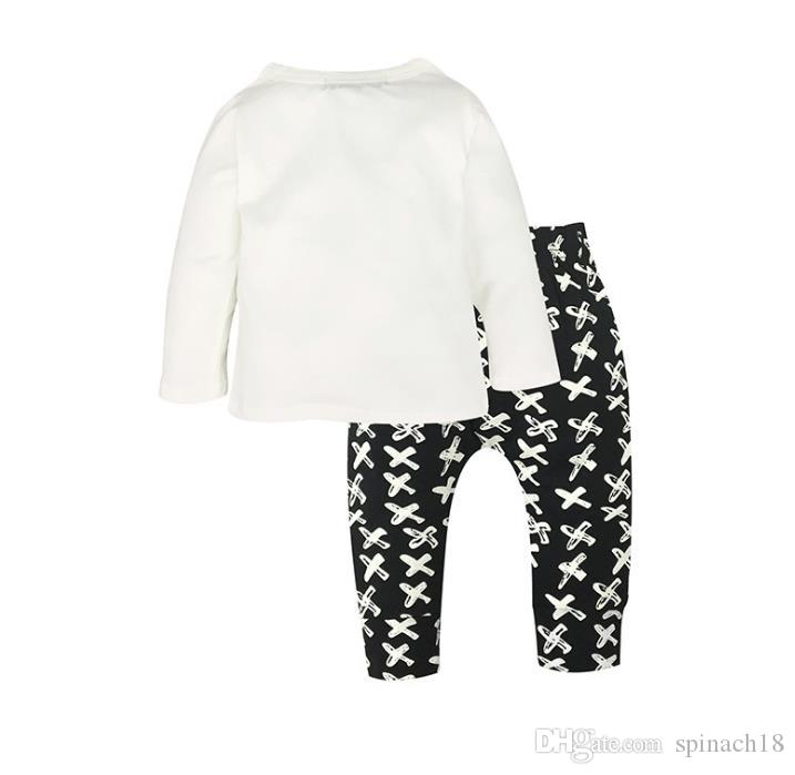 Ins Infant Baby Clothing Set Kids Boys Clothes Suit Cotton Long Sleeve White Tops T-shirt + Black Pants Children Outfits 3504