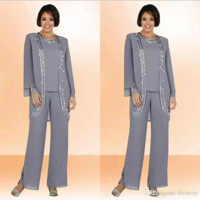 Classy Gray Mother Of Bride Pant Suits Jewel Neck Cheap Sequined