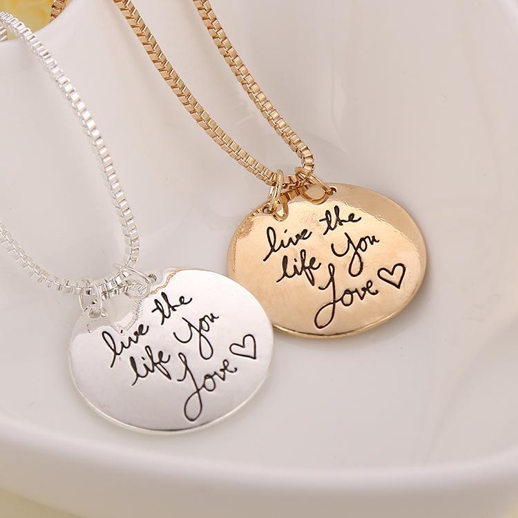 Etichetta di gioielli circolare europea e americana vivere la vita che ami amore ciondolo cuore collana donna gioielli