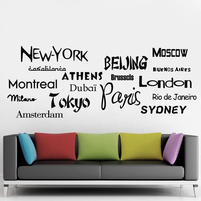 dsu new york london paris vinyl wall sticker quote world city names