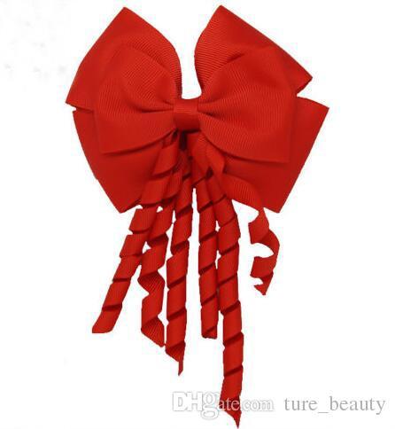 196 색! 4inch korker strecker 리본 탄성 보블 Grosgrain 리본 긴 kolker 꼬리 멋진 귀여운 머리 활 소녀 /