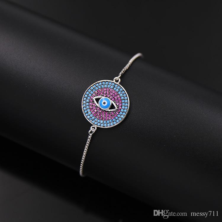Wholesale and retail copper box chain round model colorful stone eye silver color