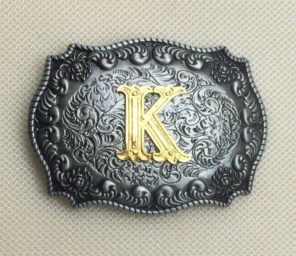 Einzelhandel 10 Verschiedene Stil Western Männer Goldenen Englisch Brief Gürtelschnalle A D G H J K M P R S Mit Metall Cowboy Gürtel Kopf