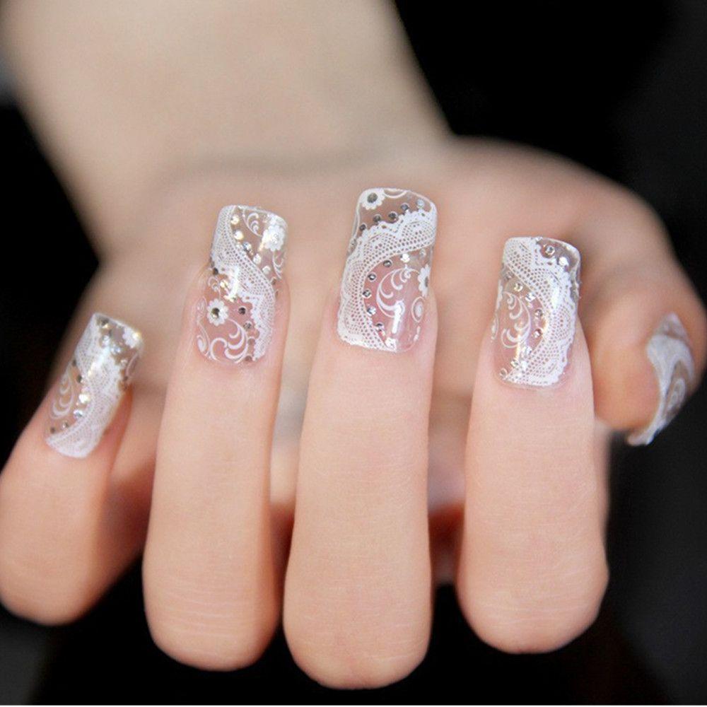 2017 New Fashion Nail Polish Sticker Manicure White Lace With ...