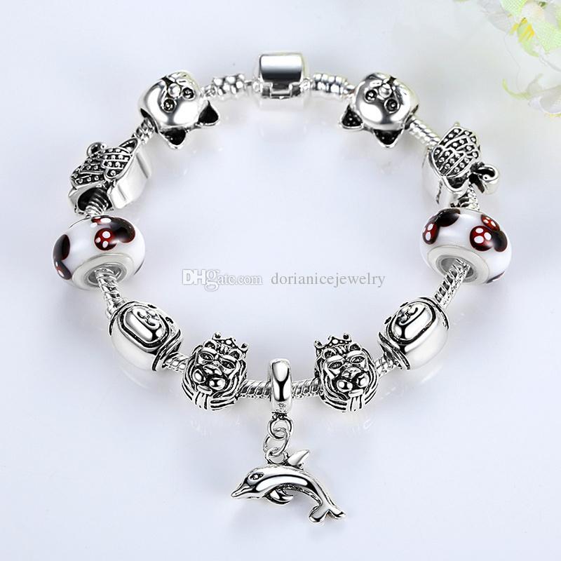 European Pandora Style Charm Bracelets with Lion Silver Charms & Dolphin Dangles Fashion DIY Bangle Bracelets for Women BL145