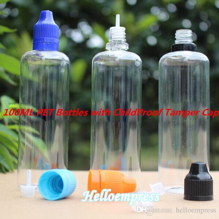 Красочные крышки 100 мл E жидкость пустая бутылка ПЭТ пластиковые бутылки капельницы с длинными тонкими наконечниками игл Шпалоподбойки очевидным уплотнения и защиты детей крышки