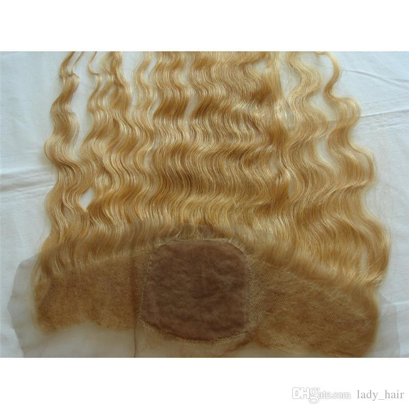 9A 러시아어 헤어 꿀 금발 실크베이스 레이스 정면 클로저 헤어 피스 # 27 Strawbery Blonde Body Wave 실크 탑 풀 레이스 Frontal 13x4