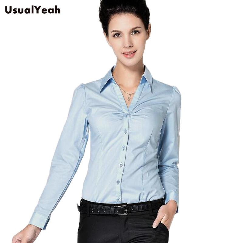 New2017 Ladies Long Sleeve Body Shirt Women Slim Fit Turn Down Collar  Formal V Neck White Blue Blouse For Work Wear SY0253 S XXL UK 2019 From  Erindolly360b 28122208f9