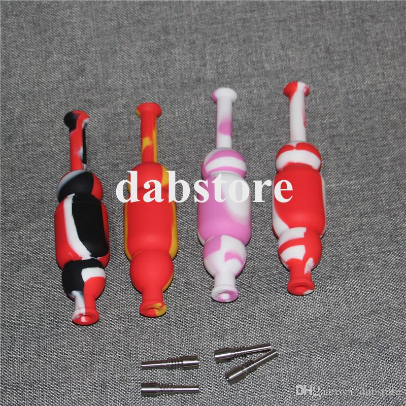 Silicone Nectar Collector kits with 10mm joint Ti Nail nectar collector oil rigs glass bongs silicone water Pipe