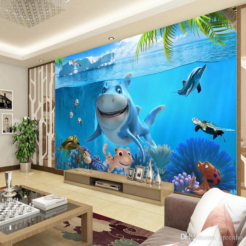 3D Cute Shark Wallpaper Underwater World Wall Mural Personalized Custom Photo Kids Bedroom Nursery TV Backdrop Cartoon Room Decor Flowers
