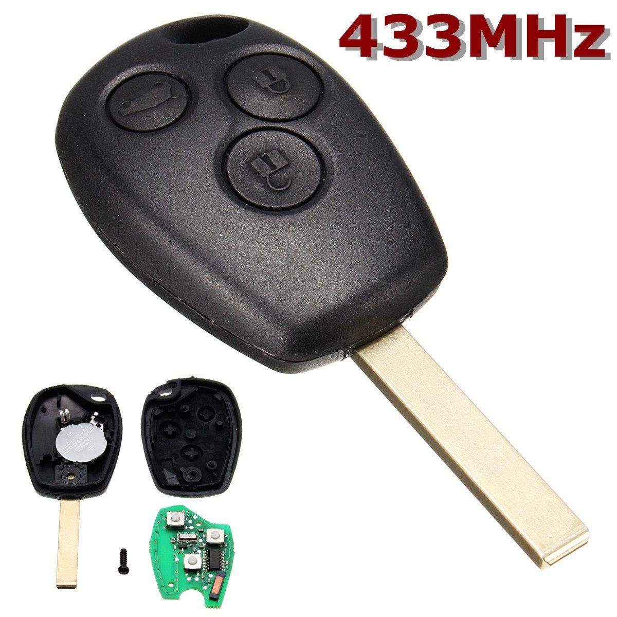 Black Uncut Blade Remote Control Key 3 Buttons 433MHz For Renault /Kangoo II /Clio III