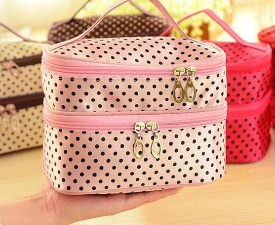 Cosmetic bag Makeup Dot Zip Bag Hanging Toiletry Travel Wash Organizer handbag large capacity portable storage travel make up bags cases