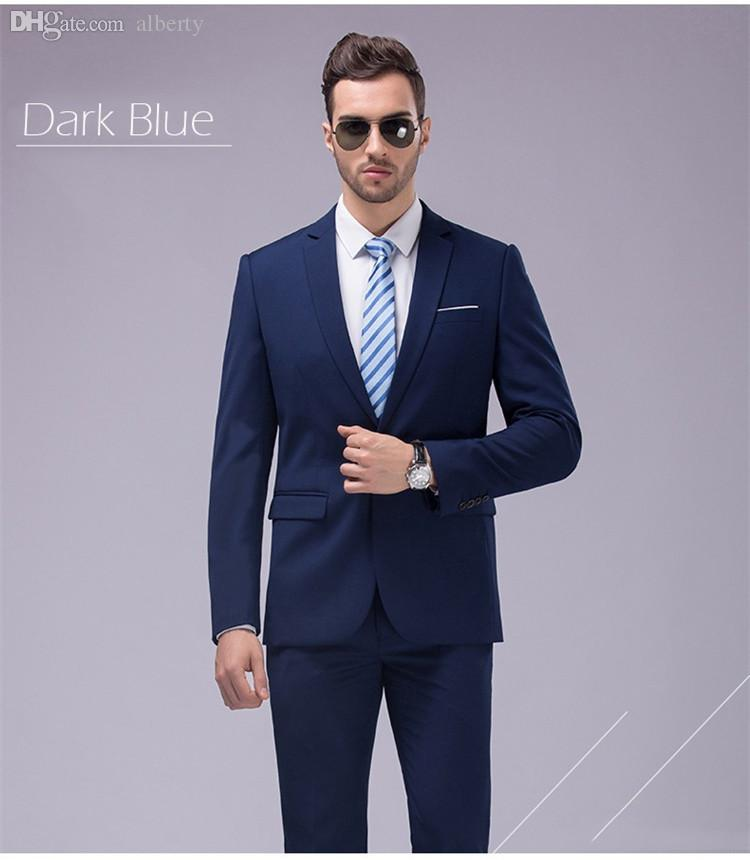 Wholesale-Custom Made Navy Tuxedo Jacket Men Suit Groom Wedding ...