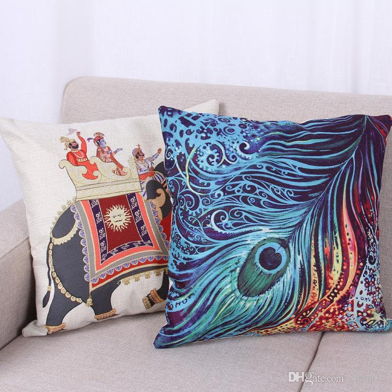 Moda Pavão Flor Impressão Fronhas Fronha de Algodão Macio Colorido Travesseiro Caso Casa Linda Fronha 45 cm X 45 cm Bom Design DHL 240602