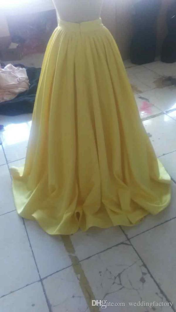 Sparkly 2019 Twee stukken Meisjes Pageant Jurken Halter Hals Mouwloze Pailletten Crop Top Light Yellow Kids Formele jurken Echte afbeelding