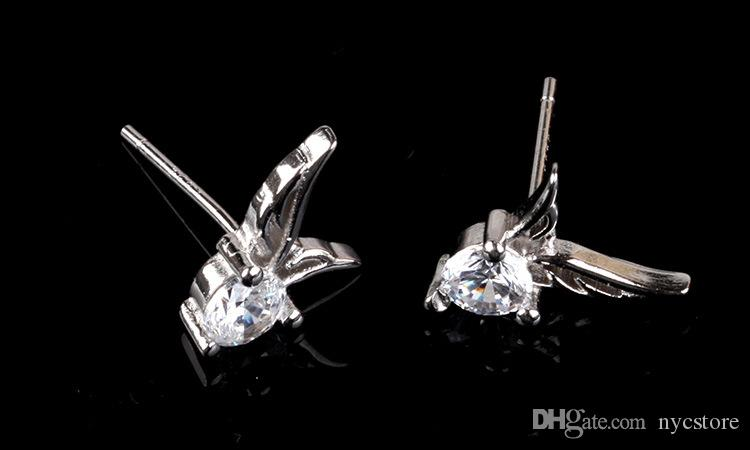 Factoy sale Angel Wings Earring Cubic Zirconia Women Party Stud Earring white gold plated Casual Crystal Retro fashion Earrings