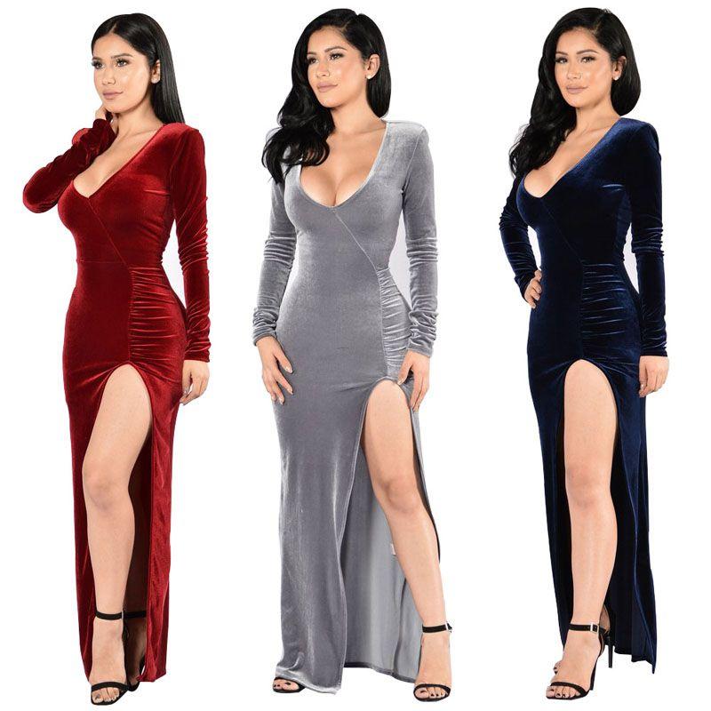 Women Dresses Deep V Neck Long Sleeve Soild Color Maxi Dress Split ...