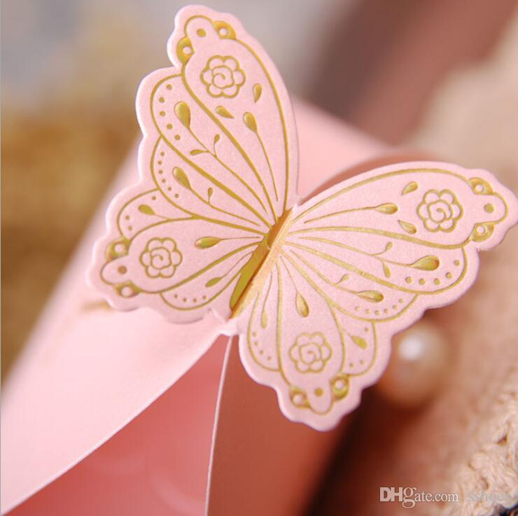 Golden Printing Bride Groom Wedding Favor Boxes Candy Box Creative DIY Gif Boxes Chocolate box with Butterfly