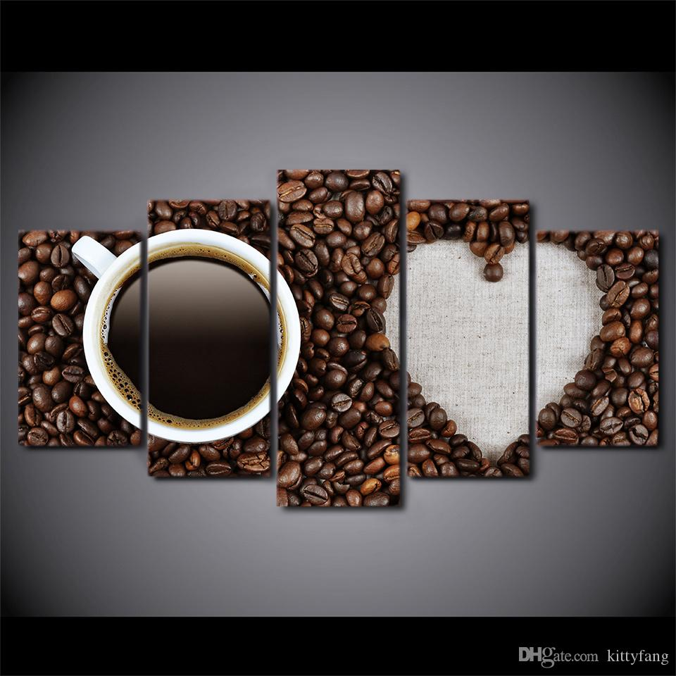 Framed HD Printed Love Coffee And Coffee Beans Still Life Canvas Painting Wall Art Picture Home Decor For Linving Room