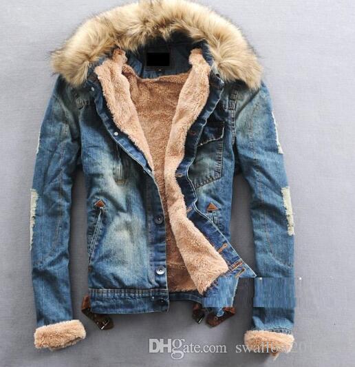 finest selection 632f6 d6a84 2016 nuovi uomini manica lunga collo di pelliccia di spessore e  rivestimento giacca jeans denim amanti giacca M-3XL