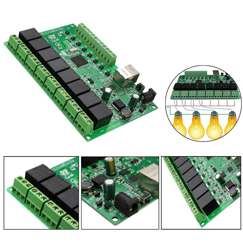 Freeshipping 8 canales 250 V / AC 10A Relay Red IP Relay Web Relay Control Dual Ethernet RJ45 interface Module Board