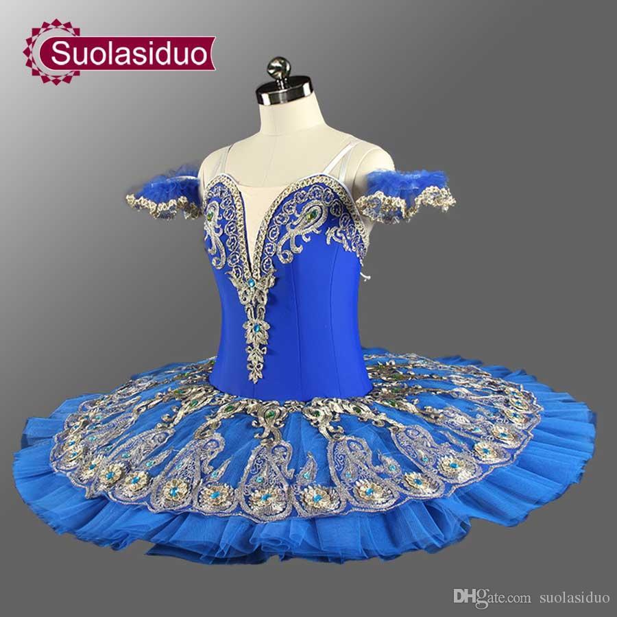 Raymonda Profesional Ballet Tutus Azul Princesa Florina Clásica Panqueque Tutu Disfraces Adulto Profesional Ballet Tutu Azul SD0075